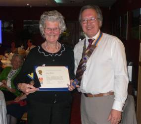 The Rotary Club of Bishop's Stortford honours a well-known local charity worker