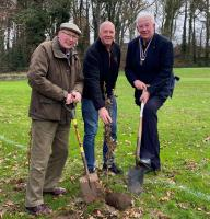 John Perry, Derek Johnston, Vice-Captain of HBGC and President Greg planting a tree at the Golf Club