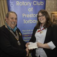 Presentation of cheque to Katie Williams