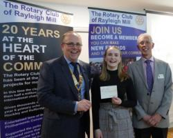 Katie Packard gets the support of the Rotary Club of Rayleigh Mill in her quest to help school children in Uganda