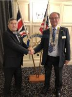 Harvey Kesler President 2018-2019 hands over to President John Alcock 2019-2020