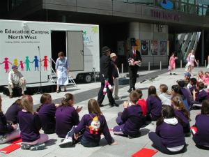 The launch of our new Life Education classroom outside the Lowry theatre.