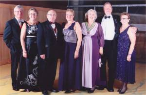 President-Elect Tony Orpwood & Christine; President Chris Hedges & Hazel; Assistant Governor Jan Dash; Past President John Hawkins & Margaret