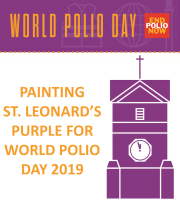 Painting St. Leonard's Purple for World Polio Day 2019