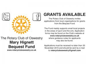 Closing Date for Receipt of Applications to the Mary Hignett Bequest Fund - November 2015
