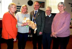 Presentation of robotic cats 'Hope' at Memory Lane Day Care Centre and 'Jake' at Sunningdale Nursing Home in Rawdon