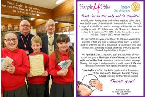 Presentation and Thank You to Our Lady and St Oswald's School