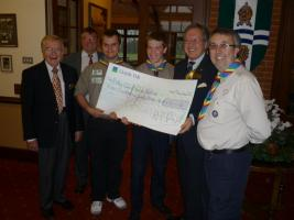 Scouts Present Cheque for Purple Pinkie