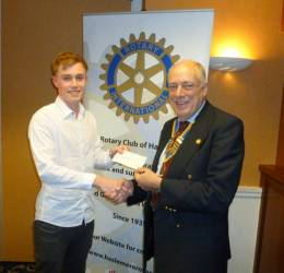 President Rob receiving a sponsorship cheque