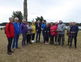 The walking group at the presentation of the new poles