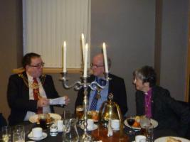 President Tony Ashbridge with the Lord Mayor of Kingston-upon-Hull and the Bishop of Hull at our New Year meeting.