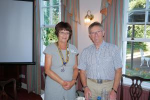 Anne Bartholomew, 2018-19 President of Tewkesbury Rotary Club with her predecessor Anthony Stockman.