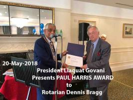 Paul Harris Award to Rotarian Dennis Bragg