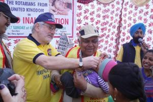 Rotarians Vaccinating Children Against Polio in India