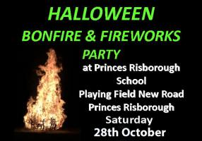 Halloween Bonfire and Fireworks Party Saturday 28th October 2017
