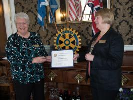 Presentation of Paul Harris Fellowship Award to Rtn. Lynne Chambers