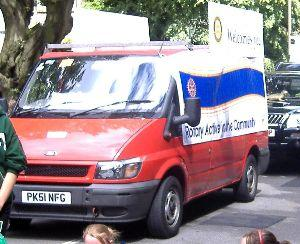 Baltic Trip Red Van in Buxton Carnival