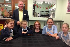 The Market Bosworth School's Finalists.  Front, from the  left: Ellie, Mae, Mrs Wright (teacher), Summer and Jessica.   Click the picture to read all about it.