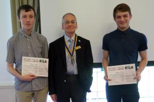 Lunchtime Meeting - 12.45pm - Jacob Owen and Tom Lowe - Rotary Youth Leadership Award