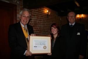 RYLA candidate receives her award