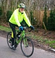 Newbury Rotarian Kevin Mosley training for the 1000 mile cycle ride.