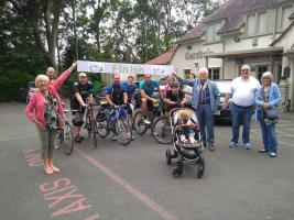 Bury Rotary supporters being welcomed home after their fund raising ride across Greater Manchester