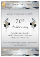 Flyer for Herne Bay Rotary Club's 70th Anniversary