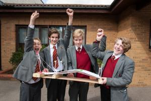 Last year's winners from Radnor House School with their completed design.