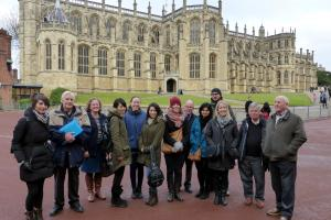 outside St George's Chapel, ready for the guided tour