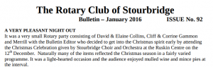 Club Bulletin - January 2016