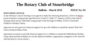 Club Bulletin - March 2016