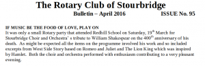 Club Bulletin - April 2016