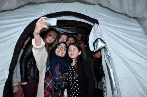 How many Interactors can fit into a ShelerBox tent?