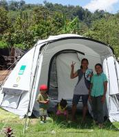 Shelterbox Tent in use in Puroo, Indonesia