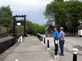 The guillotine or lift gate fitted to Lock 24e (Upper Mill Lock) near Rotcher Lane,Slaithwaite