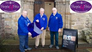 World Polio Day October 24 Members Preparing to light the cathedral in purple
