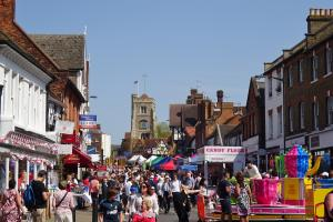 Pinner High Street in the sunshine