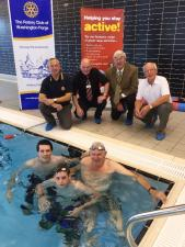 Phil Hopps, Dave Hazard (Asst Manager at Washington Leisure centre), President Dave Neville, Bob Twist with Rob Blair and 2 of his team members training for the day.