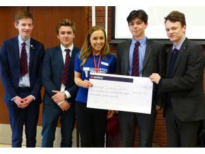 Oswestry School Interact Presents Cheque to Teenage Cancer Charity