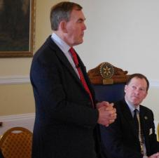 Police and Crime Commissioner for Devon & Cornwall addresses a lunch meeting of the club in February 2016. (Seen here with Club President Jon Symons)