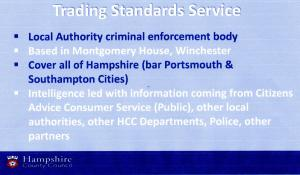 Talk by Julie Gallagher from Trading Standards
