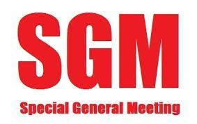 Meal followed by Special General Meeting