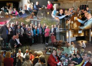A collage of the good fellowship enjoyed during the visit