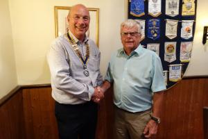 Vic is now President, Jim wishing him the best for the forthcoming year.