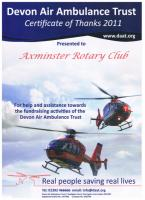 2011 Thanks from the Devon Air Ambulance Trust