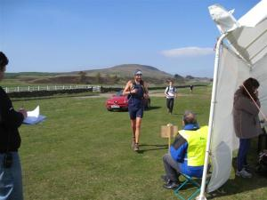 Early runners arrive at refreshment tent on Middleham High Moor