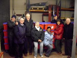 Wells Rotary Club helping to pack water boxes