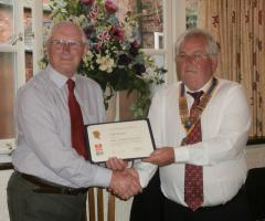 CLUB GIVES TOP HONOUR TO ROTARIAN WILF
