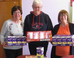Presenting Easter Eggs for the children at Stafford women's Aid