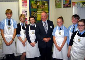 Finalists of the Rotary club of Market Bosworth Young chef Competition:   Harry Lawson, Lucy Ibbetson, Chantal Cook, President-elect John Whitehead, Imogen Banton, Kieran Madden, Louise Morgan